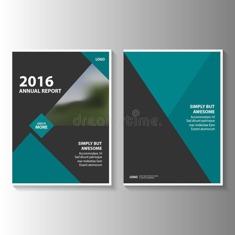 Πράσινο και μαύρο διανυσματικό σχέδιο προτύπων ιπτάμενων φυλλάδιων φυλλάδιων ετήσια εκθέσεων, σχέδιο σχεδιαγράμματος κάλυψης βιβλ διανυσματική απεικόνιση