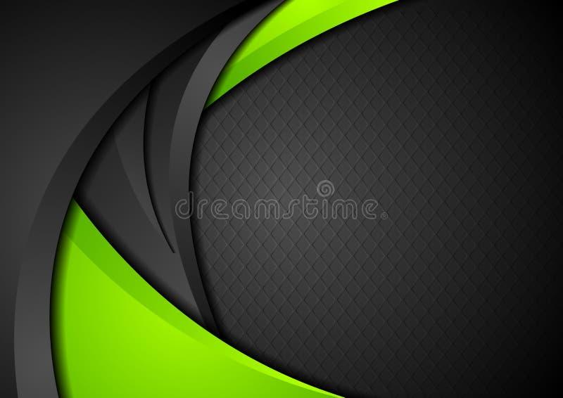 Πράσινο και μαύρο υπόβαθρο κυμάτων αντίθεσης εταιρικό ελεύθερη απεικόνιση δικαιώματος