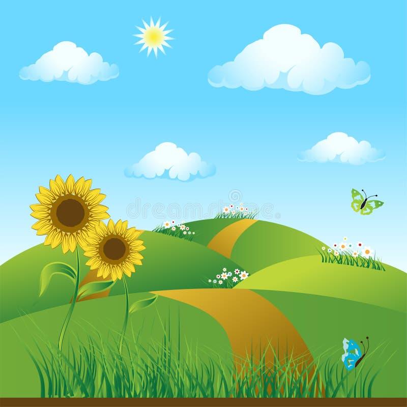 πράσινο καλοκαίρι λιβαδιών sunflowe διανυσματική απεικόνιση