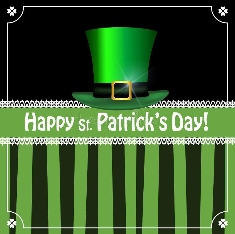 Πράσινο καπέλο Leprechauns στο μαύρο και πράσινο ριγωτό υπόβαθρο απεικόνιση αποθεμάτων