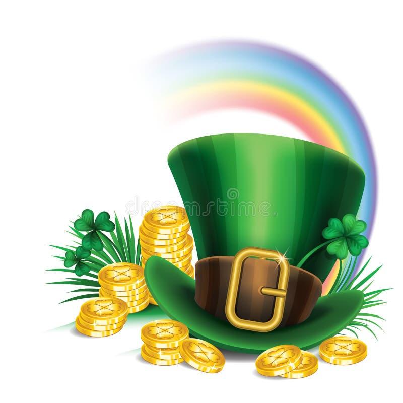 Πράσινο καπέλο leprechaun ημέρας του ST Πάτρικ με το τριφύλλι, χρυσά νομίσματα διανυσματική απεικόνιση
