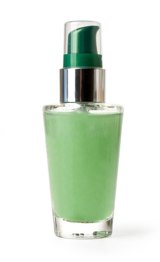 Πράσινο καλλυντικό μπουκάλι στοκ εικόνες με δικαίωμα ελεύθερης χρήσης