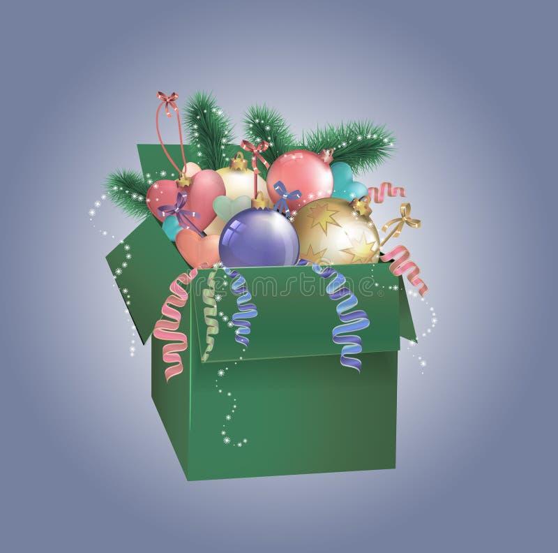 Πράσινο κιβώτιο Χριστουγέννων με τα μπιχλιμπίδια ελεύθερη απεικόνιση δικαιώματος