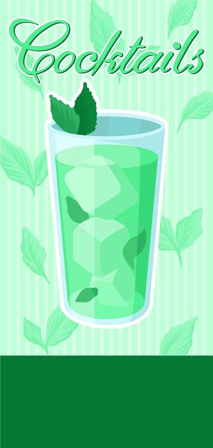 Πράσινο κοκτέιλ με το έμβλημα πάγου και μεντών, το θερινό ποτό, το ιπτάμενο εορτασμού κομμάτων κοκτέιλ, την πρόσκληση ή το διάνυσ απεικόνιση αποθεμάτων