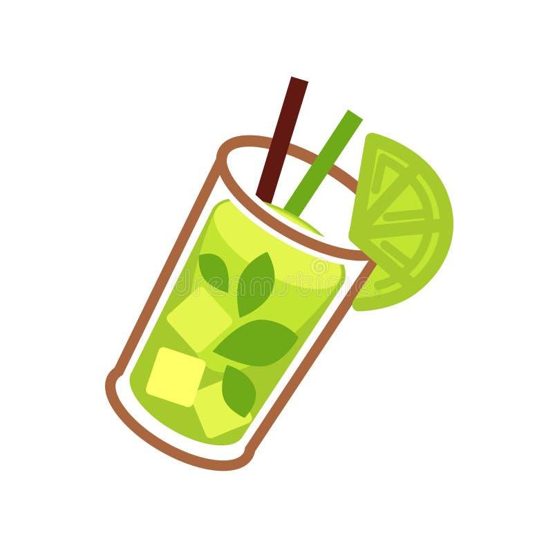 Πράσινο κοκτέιλ Mojito στο γυαλί με τη φέτα ασβέστη ελεύθερη απεικόνιση δικαιώματος