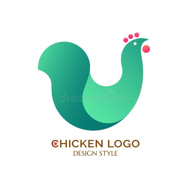 Πράσινο κοτόπουλο λογότυπων διανυσματική απεικόνιση