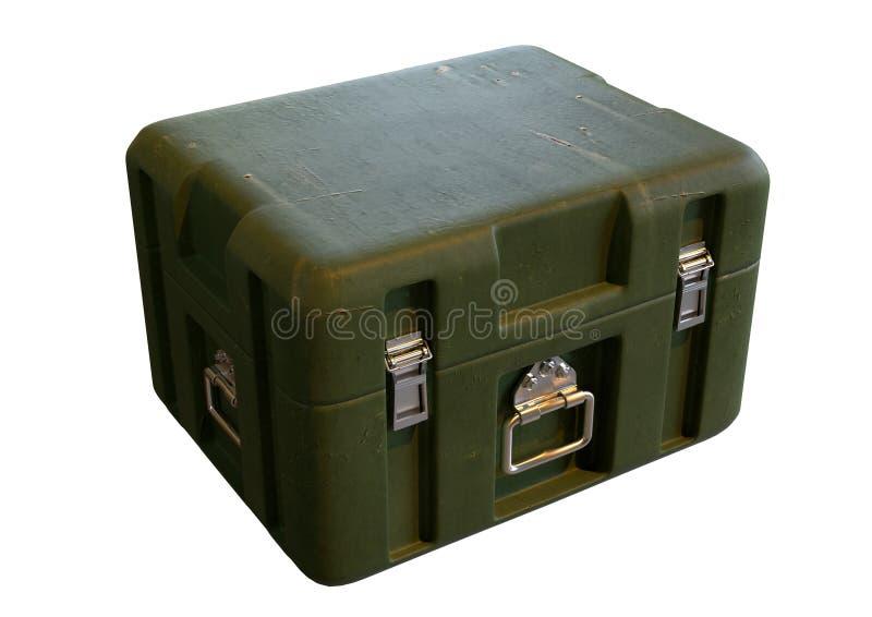Πράσινο κουτί αποθήκευσης πολεμικού εξοπλισμού που έχει απομονωθεί σε λευκό φόντο απεικόνιση αποθεμάτων