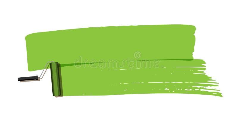 Πράσινο κτύπημα βουρτσών με τον κύλινδρο χρωμάτων που απομονώνεται στο άσπρο υπόβαθρο το σχέδιο εύκολο επιμελείται το στοιχείο στ διανυσματική απεικόνιση