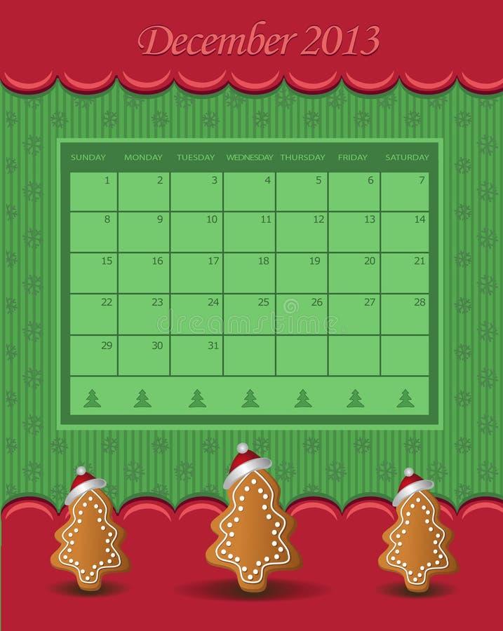 Πράσινο κόκκινο δέντρων Χριστουγέννων 2013 ημερολογιακού Δεκεμβρίου απεικόνιση αποθεμάτων