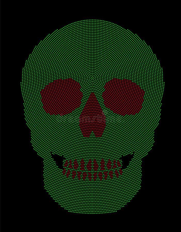 Πράσινο κόκκινο ακτινωτό σχέδιο σημείων συμβόλων κρανίων απεικόνιση αποθεμάτων