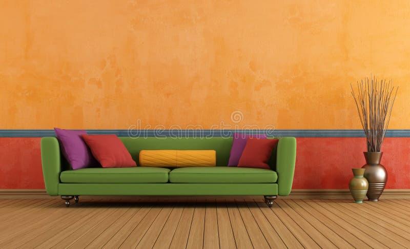 Πράσινο κόκκινο και πορτοκαλί καθιστικό διανυσματική απεικόνιση