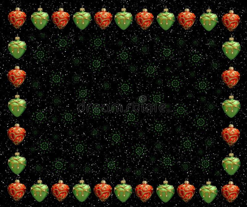 πράσινο κόκκινο καρδιών πλαισίων Χριστουγέννων απεικόνιση αποθεμάτων