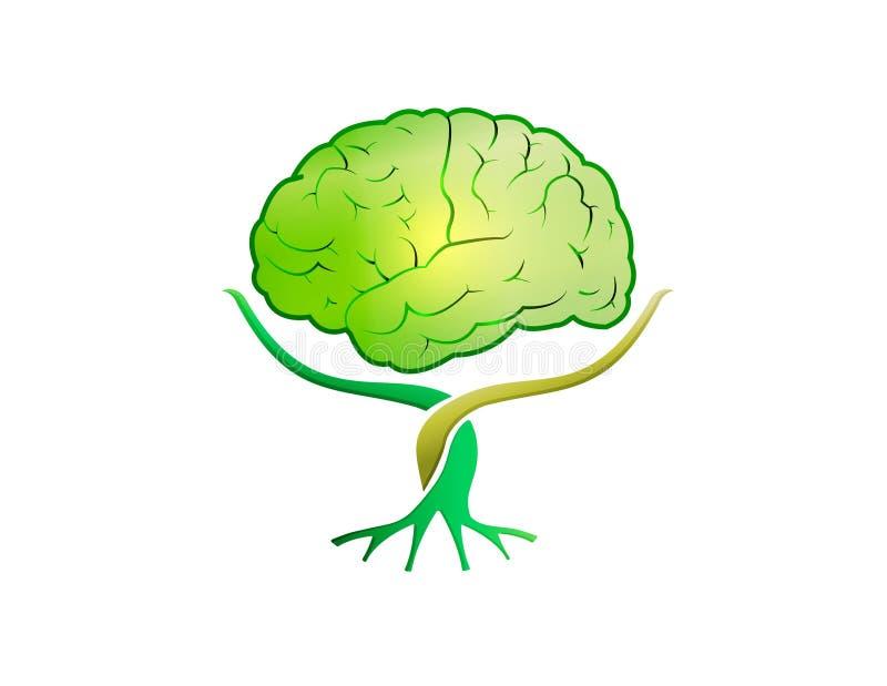 Πράσινο λογότυπο δέντρων εγκεφάλου διανυσματική απεικόνιση