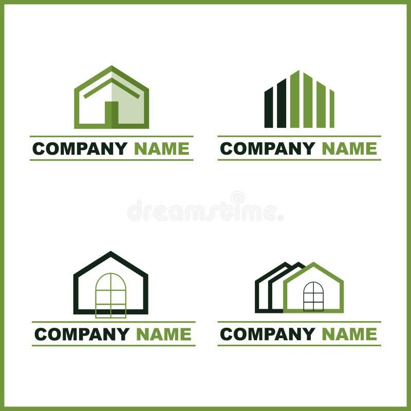 πράσινο λογότυπο κτημάτων & διανυσματική απεικόνιση