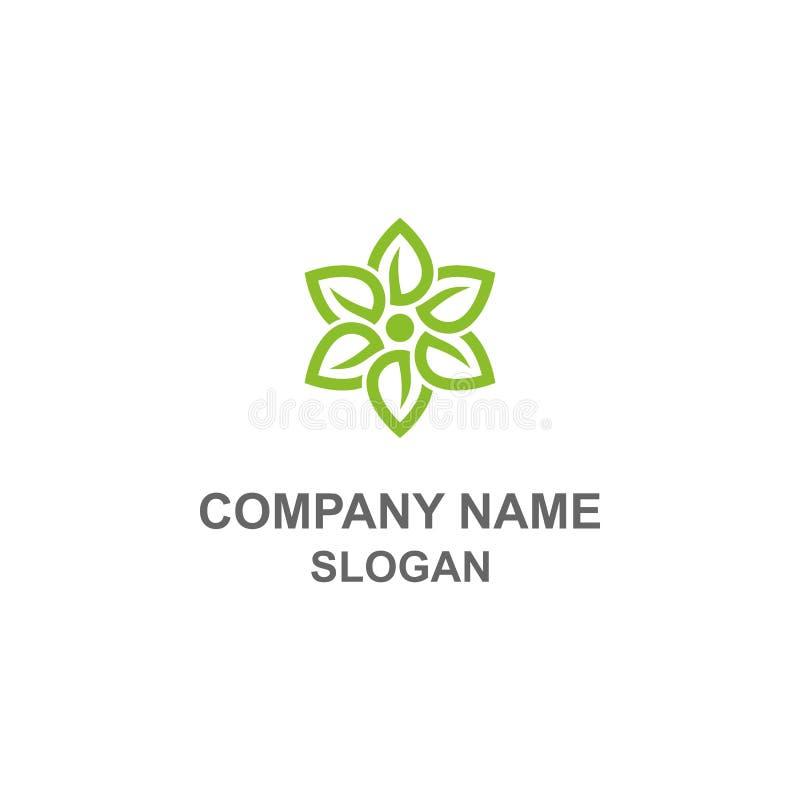 Πράσινο λογότυπο λουλουδιών φύλλων απεικόνιση αποθεμάτων