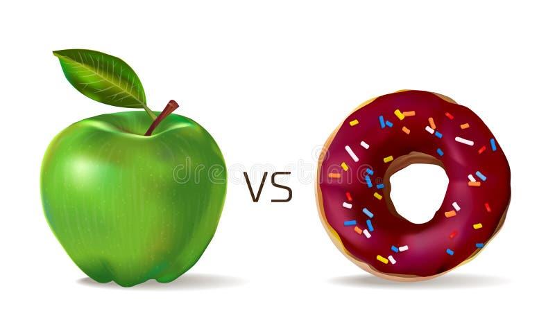 Πράσινο μήλο ενάντια doughnut γλυκιάς σοκολάτας Χορτοφαγία και υγιής τρόπος ζωής Άχρηστο φαγητό εναντίον του υγιούς διανυσματικού απεικόνιση αποθεμάτων