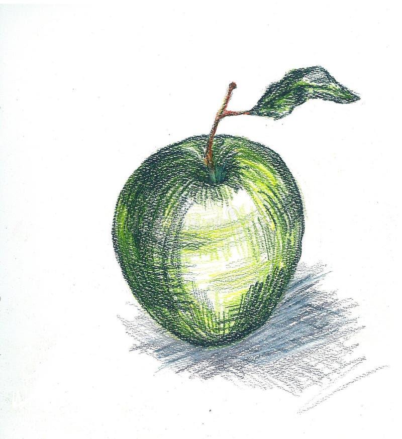 Πράσινο μήλο σε ένα άσπρο υπόβαθρο, όμορφη απεικόνιση χορτοφάγα τρόφιμα φρούτων ελεύθερη απεικόνιση δικαιώματος