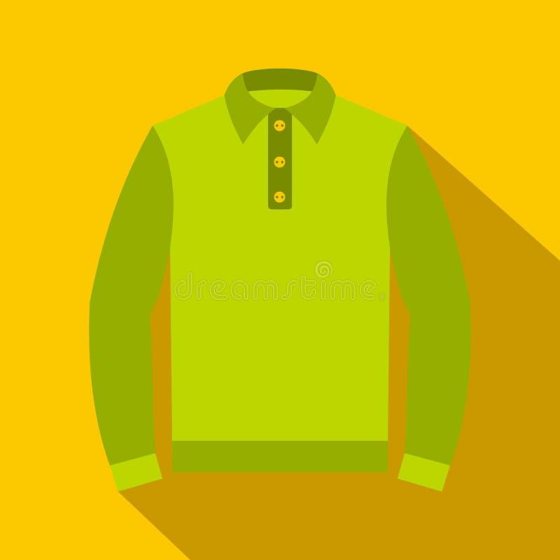 Πράσινο μακροχρόνιο εικονίδιο πουκάμισων πόλο μανικιών, επίπεδο ύφος διανυσματική απεικόνιση