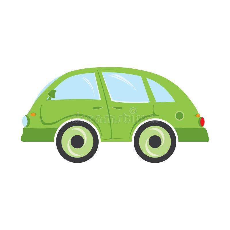Πράσινο μικρό λεωφορείο που απομονώνεται σε ένα άσπρο υπόβαθρο διανυσματική απεικόνιση