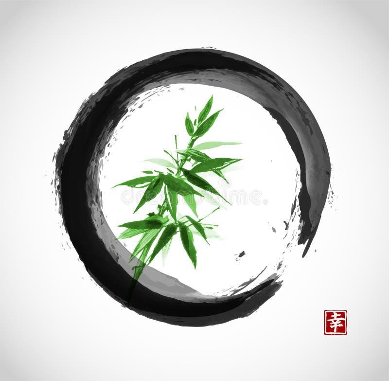 Πράσινο μπαμπού στο μαύρο κύκλο enso ελεύθερη απεικόνιση δικαιώματος