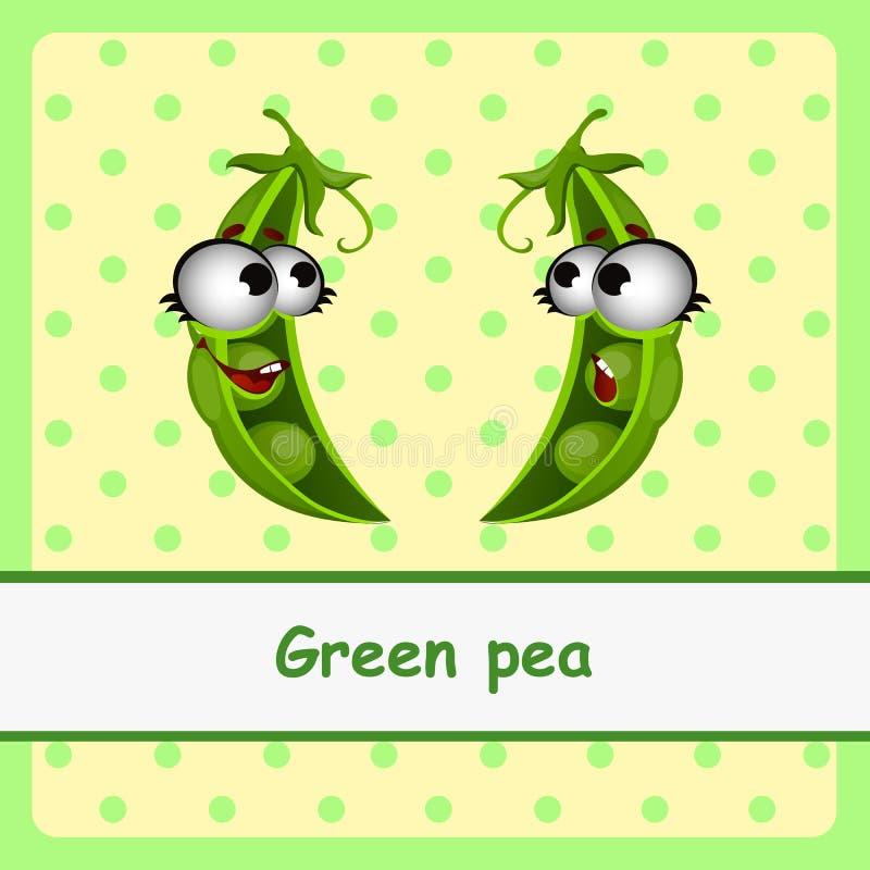 Πράσινο μπιζέλι, αστείοι χαρακτήρες στο κίτρινο υπόβαθρο απεικόνιση αποθεμάτων