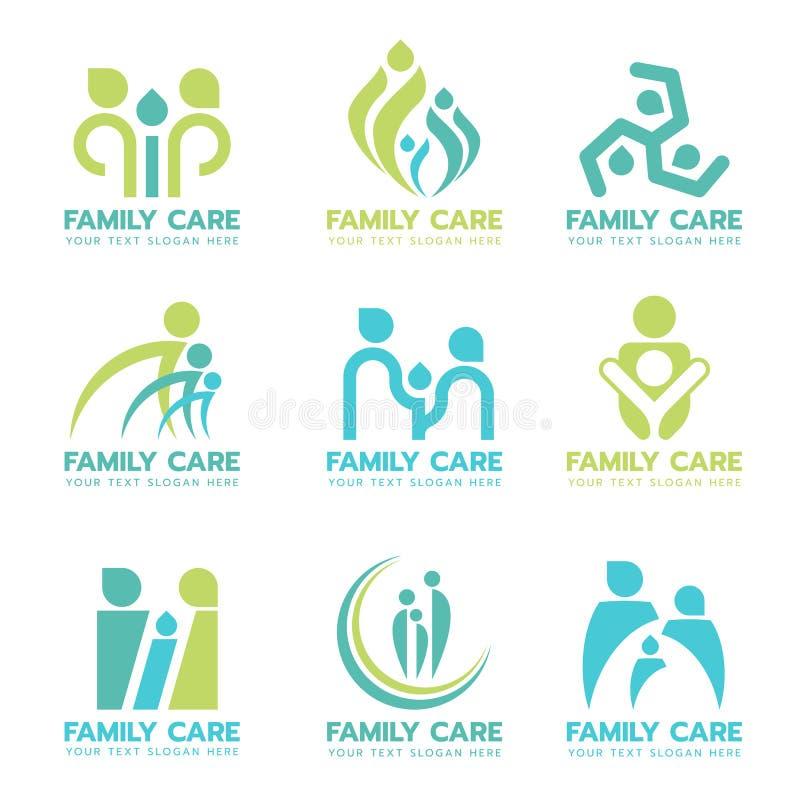 Πράσινο μπλε διανυσματικό καθορισμένο σχέδιο σημαδιών λογότυπων οικογενειακής προσοχής απεικόνιση αποθεμάτων