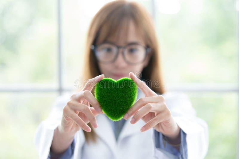 Πράσινο μυαλό πνευμάτων μορίων Sciene Πράσινη καρδιά στο χέρι της στο εργαστήριο ένα υπόβαθρο Όμορφη χαμογελώντας θηλυκή εκμετάλλ στοκ εικόνες
