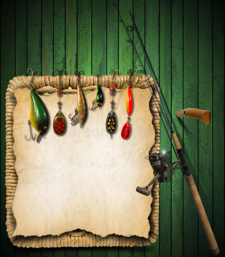 Πράσινο ξύλινο υπόβαθρο εξοπλισμών αλιείας διανυσματική απεικόνιση