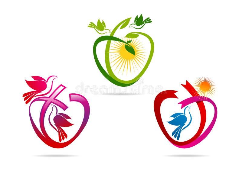 Πράσινο λογότυπο καρδιών, κορδέλλα μορφής αγάπης με το σύμβολο περιστεριών, πνευματικό ιερό εικονίδιο περιστεριών, έννοια σχεδίου διανυσματική απεικόνιση