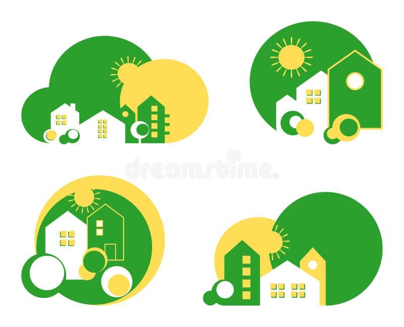 Πράσινο λογότυπο σπιτιών ελεύθερη απεικόνιση δικαιώματος