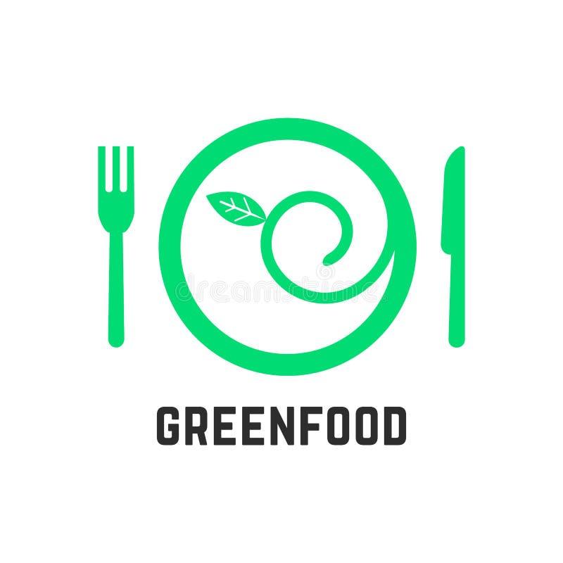 Πράσινο λογότυπο τροφίμων με τα tablewares ελεύθερη απεικόνιση δικαιώματος