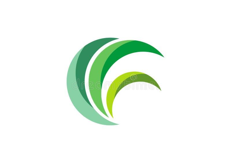 Πράσινο λογότυπο Eco, διάνυσμα σχεδίου συμβόλων φυτών φύσης χλόης φύλλων κύκλων διανυσματική απεικόνιση