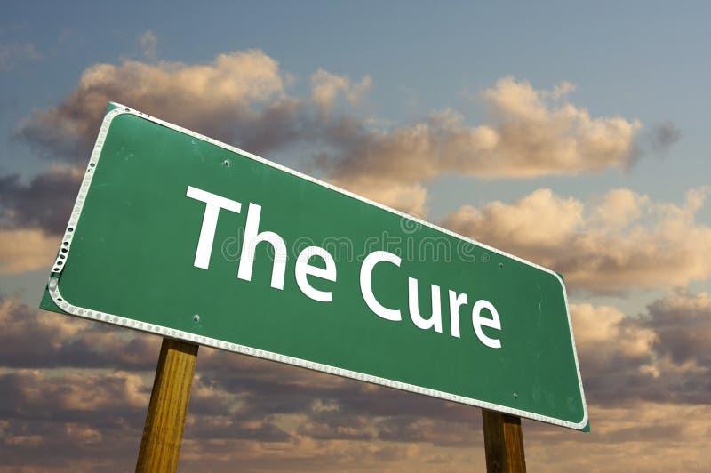 πράσινο οδικό σημάδι θεραπείας στοκ εικόνες