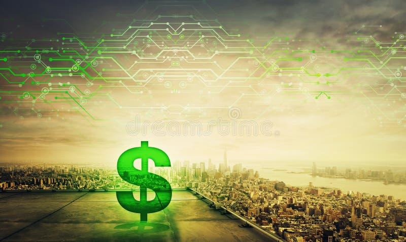 Πράσινο ολόγραμμα συμβόλων δολαρίων στη στέγη ενός ουρανοξύστη πέρα από το μεγάλο ορίζοντα ηλιοβασιλέματος πόλεων, διπλή επίδραση απεικόνιση αποθεμάτων