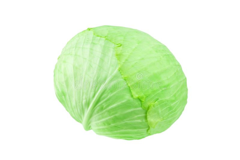 Πράσινο ολόκληρο το κεφάλι του λάχανου στο άσπρο υπόβαθρο απομόνωσε κοντά επάνω, στρογγυλό ώριμο άσπρο λάχανο, μια μακροεντολή νε στοκ φωτογραφία με δικαίωμα ελεύθερης χρήσης