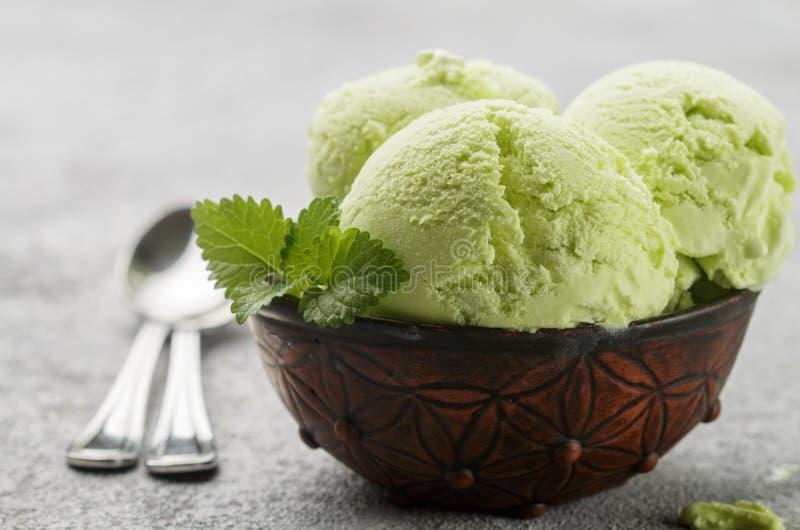 Πράσινο οργανικό σπιτικό παγωτό τσαγιού με τα φύλλα μεντών στοκ εικόνες με δικαίωμα ελεύθερης χρήσης