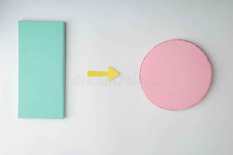 Πράσινο ορθογώνιο και ρόδινος κύκλος στοκ εικόνες