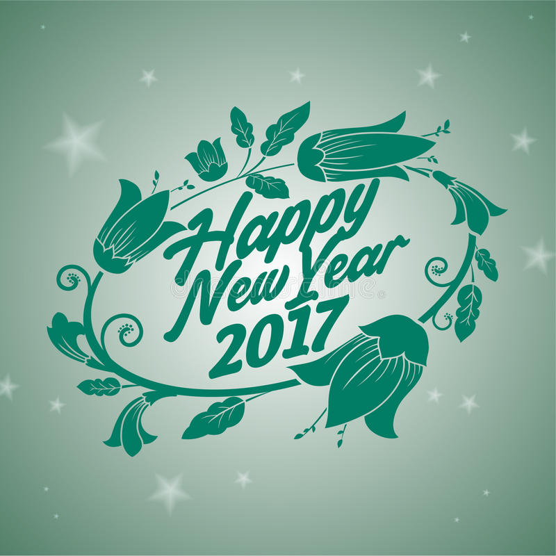 Πράσινο λουλούδι καλής χρονιάς 2017 στοκ εικόνα με δικαίωμα ελεύθερης χρήσης