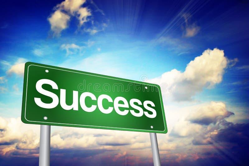 Πράσινο οδικό σημάδι επιτυχίας, επιχειρησιακή έννοια διανυσματική απεικόνιση