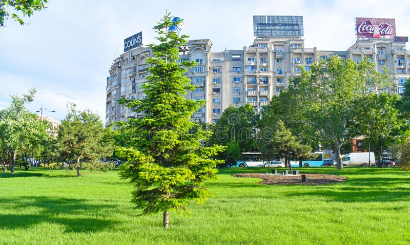 Πράσινο πάρκο στην πλατεία Unirii σε μια ηλιόλουστη ημέρα άνοιξη - Βουκουρέστι, Ρουμανία - 20 05 2019 στοκ εικόνα με δικαίωμα ελεύθερης χρήσης