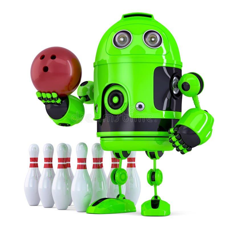 Πράσινο παίζοντας μπόουλινγκ ρομπότ απομονωμένος Περιέχει το μονοπάτι ψαλιδίσματος ελεύθερη απεικόνιση δικαιώματος