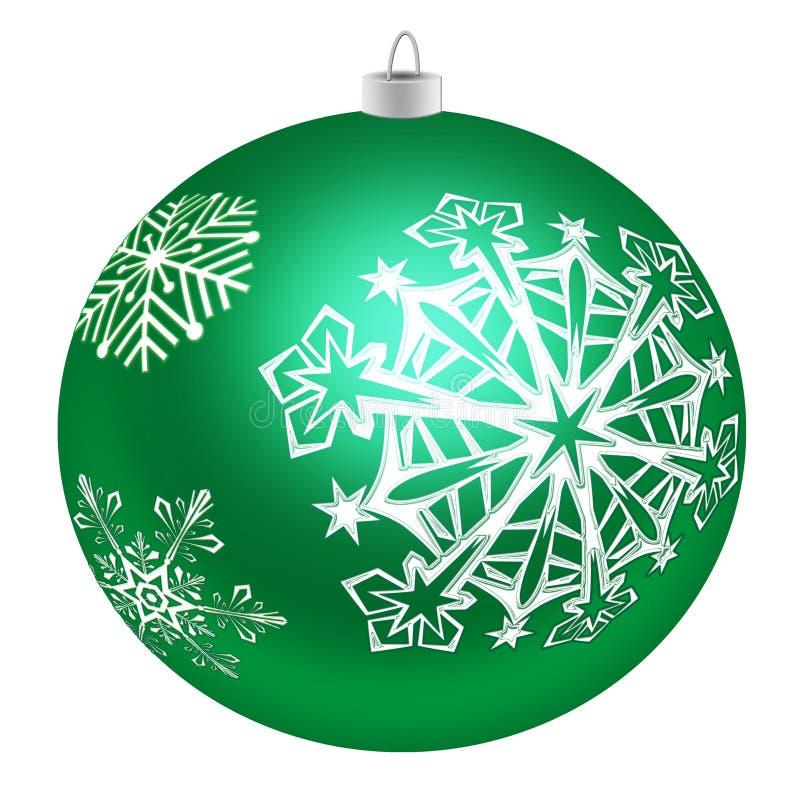 Πράσινο παιχνίδι δέντρων με snowflakes σε ένα άσπρο υπόβαθρο απεικόνιση αποθεμάτων
