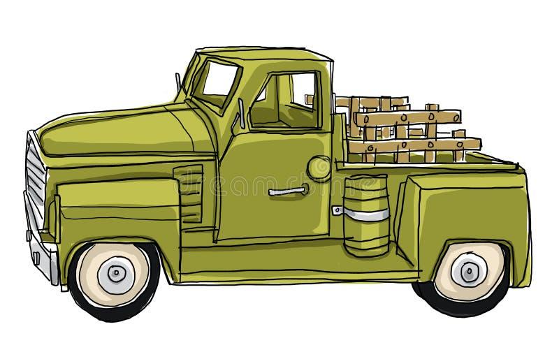 Πράσινο παιχνίδι αυτοκινήτων μετάλλων κασσίτερου ανοιχτών φορτηγών απεικόνιση αποθεμάτων