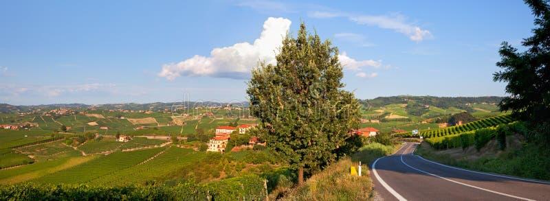 πράσινο πανόραμα piedmont της Ιταλίας λόφων στοκ φωτογραφίες
