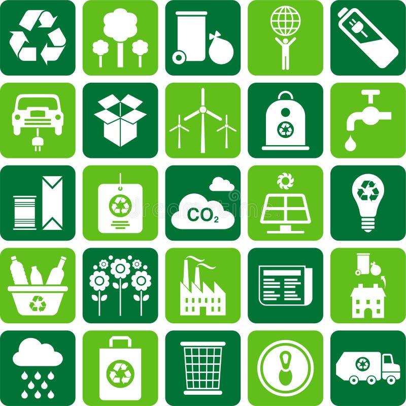 Πράσινο περιβάλλον και ανακύκλωσης εικονίδια διανυσματική απεικόνιση