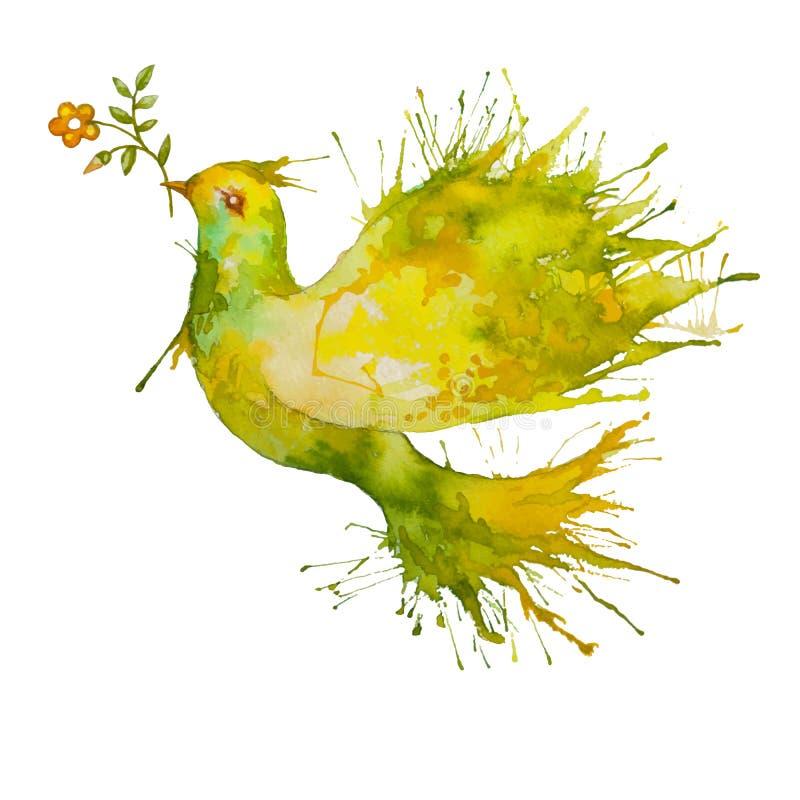 Πράσινο περιστέρι που πετά με τον κλάδο λουλουδιών ελεύθερη απεικόνιση δικαιώματος