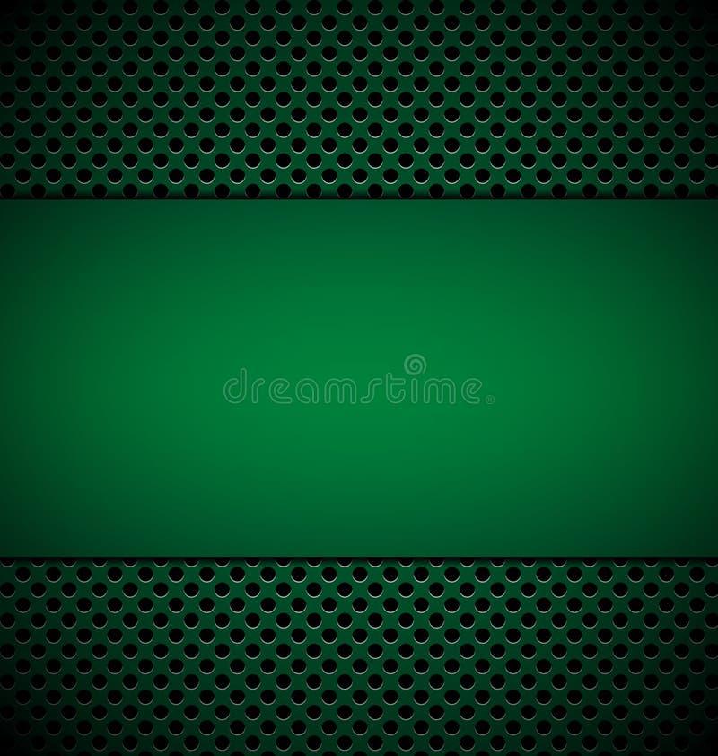 Πράσινο πιάτο Bllank για το σχέδιο στο πράσινο υπόβαθρο σύστασης σχαρών απεικόνιση αποθεμάτων