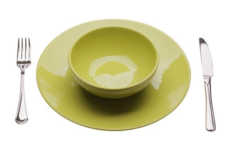 πράσινο πιάτο tablewares στοκ φωτογραφία