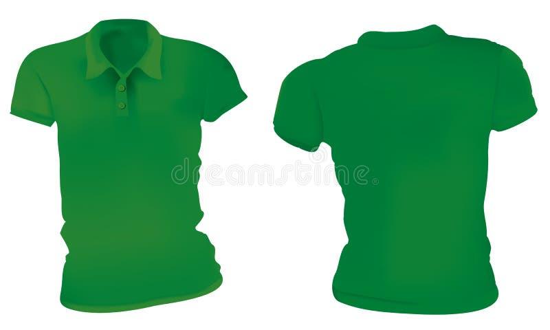 Πράσινο πρότυπο πουκάμισων πόλο γυναικών διανυσματική απεικόνιση