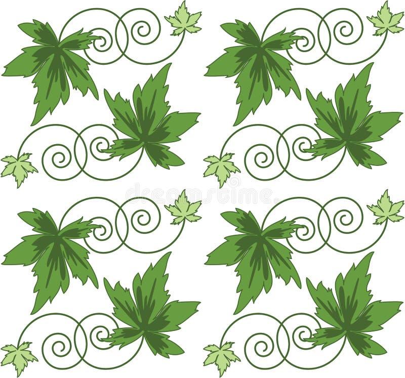 πράσινο πρότυπο φύλλων αριθμού άνευ ραφής ελεύθερη απεικόνιση δικαιώματος